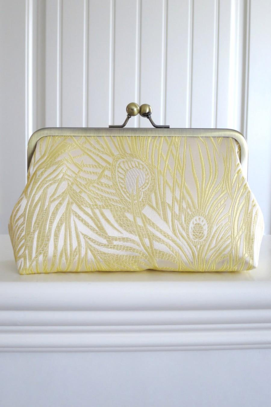 Mariage - SALE Iridescent Peacock Clutch in Ivory Brocade,Bridal Accessories,Bride Clutch,Bridesmaid Clutch,Holiday Clutch