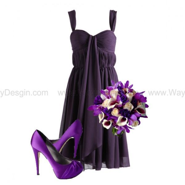 Mariage - Plum Dark Purple Sweetheart Chiffon Bridesmaid Dress/Prom Dress Knee Length Short Dress