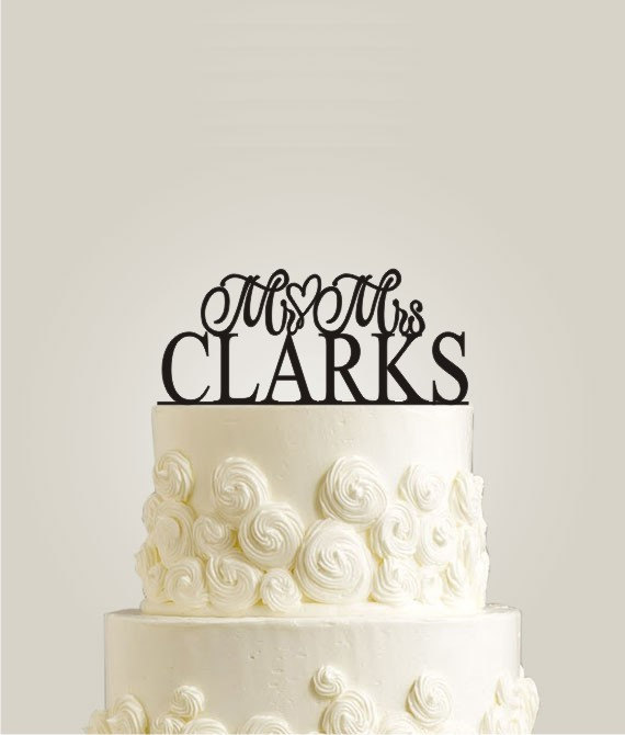 Mariage - Mr and Mrs Cake Topper - Personalized with Your Surname, Cake Decor, Custom Cake Topper