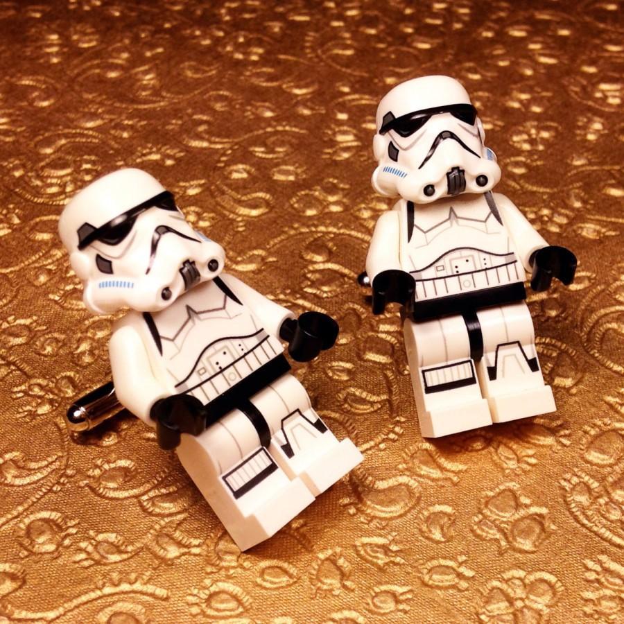 Mariage - Wedding Cuff links, Groom, Wedding, Full Body Storm Trooper silver toned cufflinks in gift box