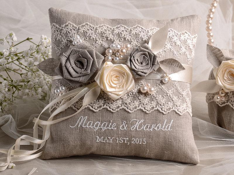 زفاف - Lace Wedding Pillow  Ring Bearer Pillow Embroidery Names, shabby chic natural linen
