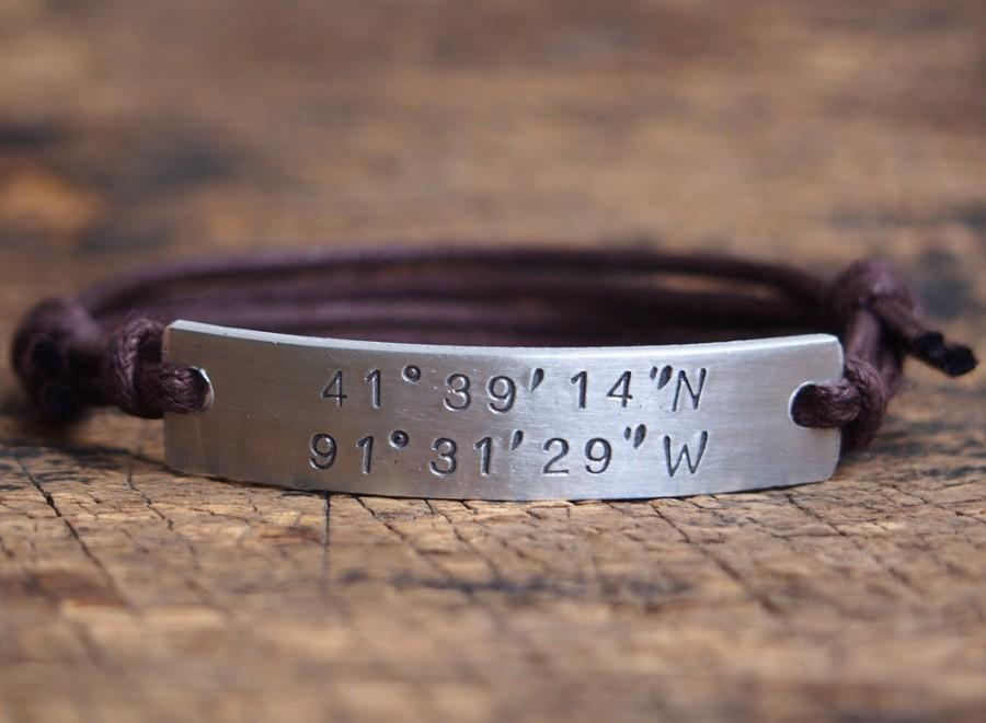 products grande bracelet latitude coordinate longitude custom engraved location
