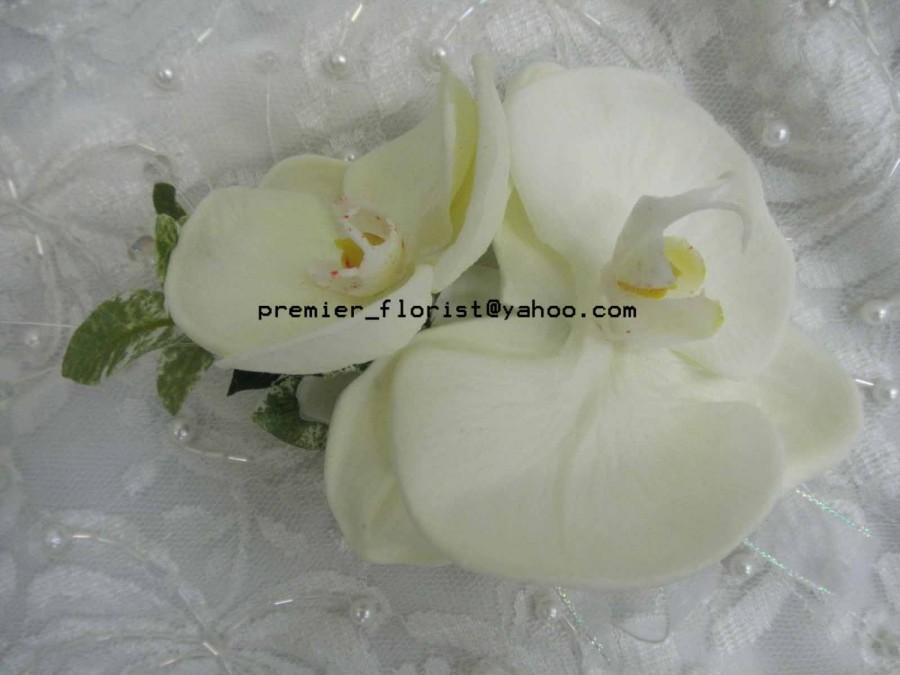 Mariage - Bridal Bouquet Wedding Flower Sample Box. Teal Turquoise Yellow White. Rose, REAL TOUCH Calla. Orchid Hydrangea 2 boutonnieres 2 corsages