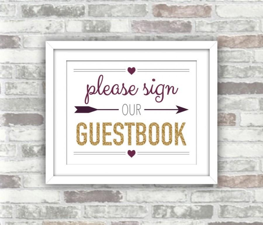 Mariage - INSTANT DOWNLOAD - Printable Wedding Guestbook Sign - Digital File - Gold Glitter Effect Plum Burgundy - Fall Autumn Wedding - 8x10