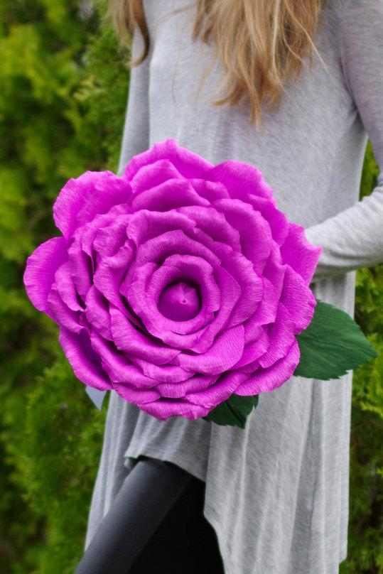 Giant Crepe Paper Rose Ready To Ship, Purple Rose Diameter 13 Inches ...