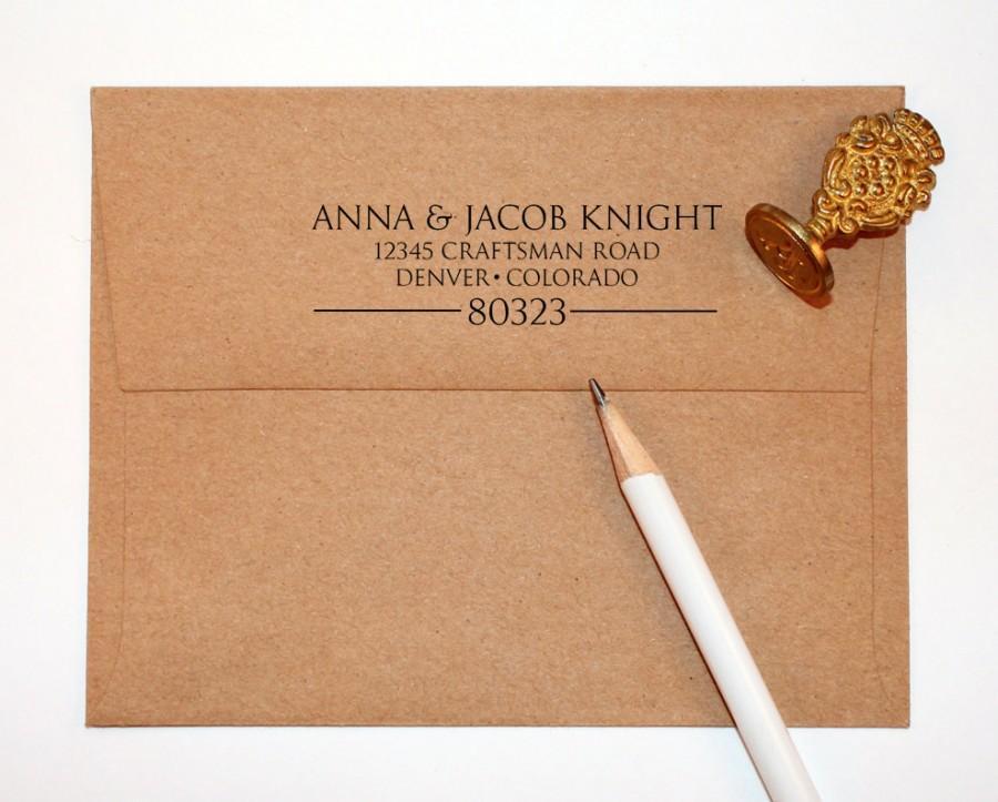 Wedding - Return address stamp, black self inking stamp, rubber stamp wood handle