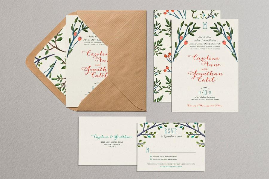 christmas wedding invitations, pine branches and holly wedding, Wedding invitations