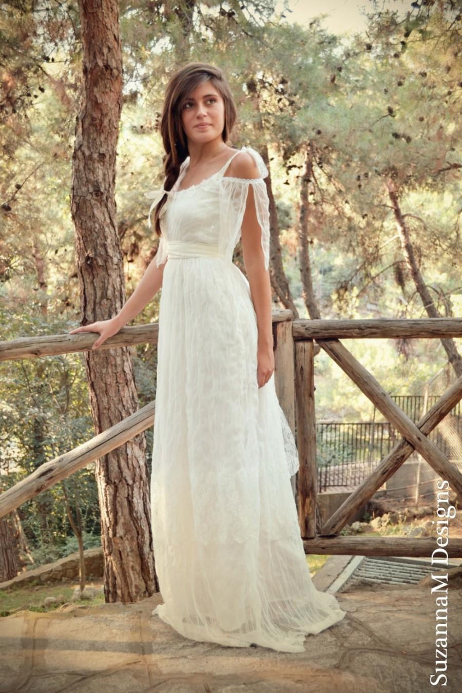 Vintage Wedding Dress Lace And Tulle Long Bridal Gown