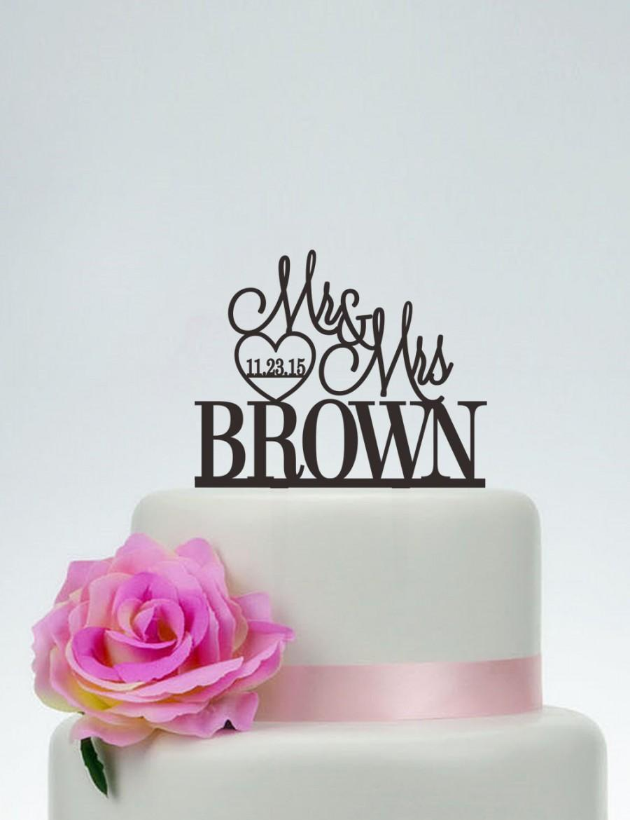 Свадьба - Mr and Mrs Cake Topper With Last Name,Wedding Cake Topper,Custom Cake Topper,Unique Cake Topper,Funny Cake Topper,Cake Decoration C089