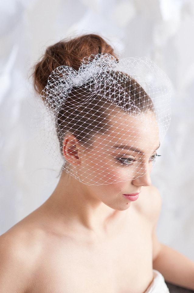 زفاف - Birdcage veil, 9 inch veil, ivory birdcage veil, white birdcage veil, mini veil - READY TO SHIP