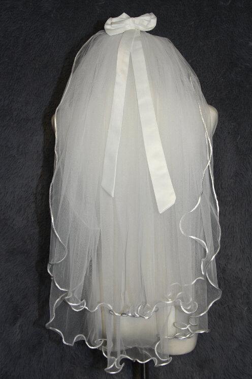 زفاف - Ivory white double elbow length veil - Bridal Veil curling - bow design wedding veil - Wedding Accessories
