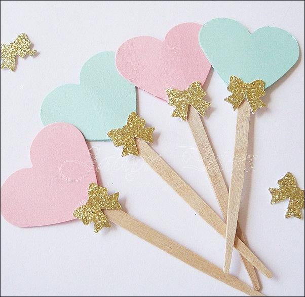 Pink And Mint Cupcake Toppers Hearts Gold Glitter Bow Cottage