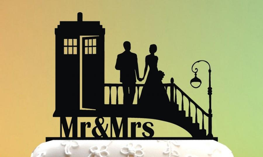 زفاف - Wedding Cake Topper - cake topper TARDIS - Doctor Who Wedding - Doctor Who Cake Topper