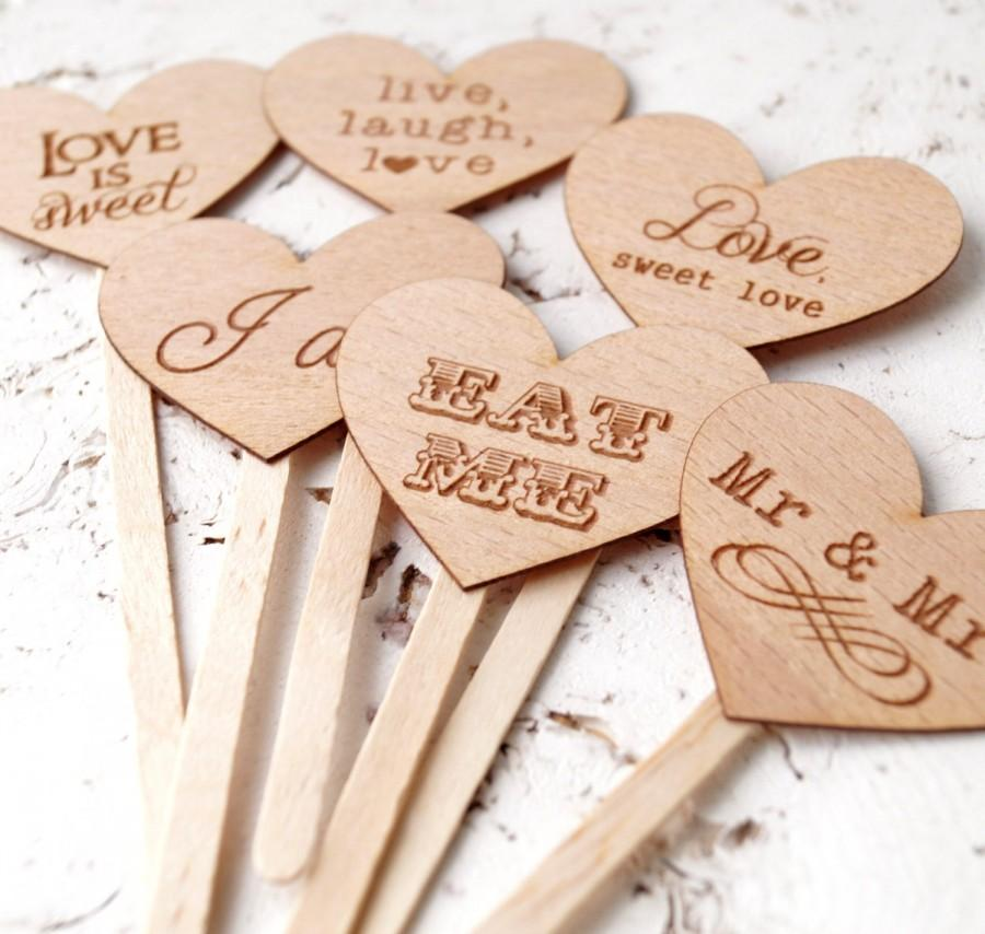 Свадьба - Wedding cupcake toppers, rustic cupcake toppers, personalized cupcake picks, wedding cupcake decoration - choose your design