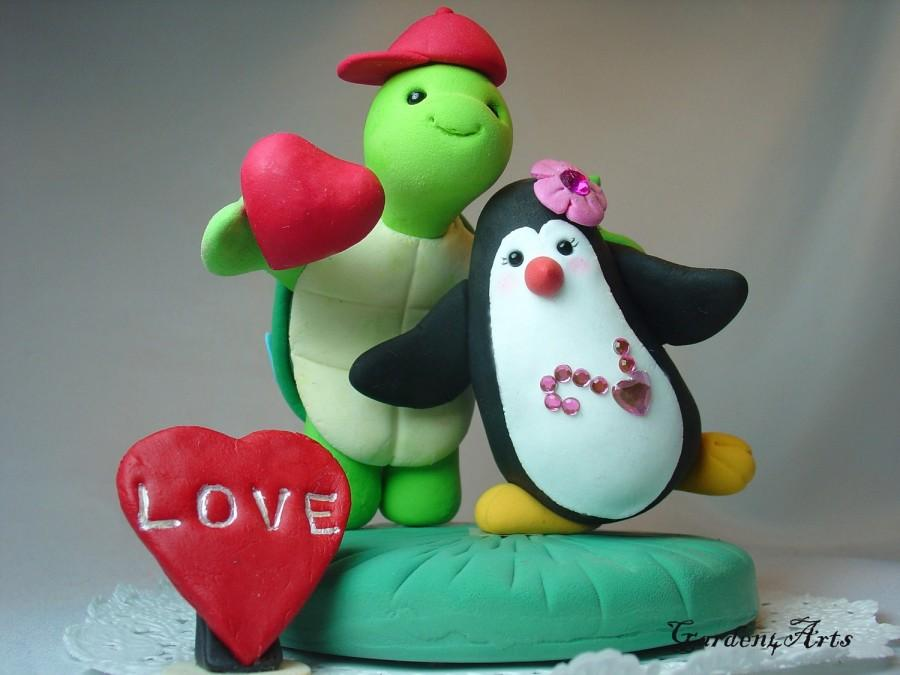Customise Wedding Cake Topper--Happy Turtle And Penguin Love With ...