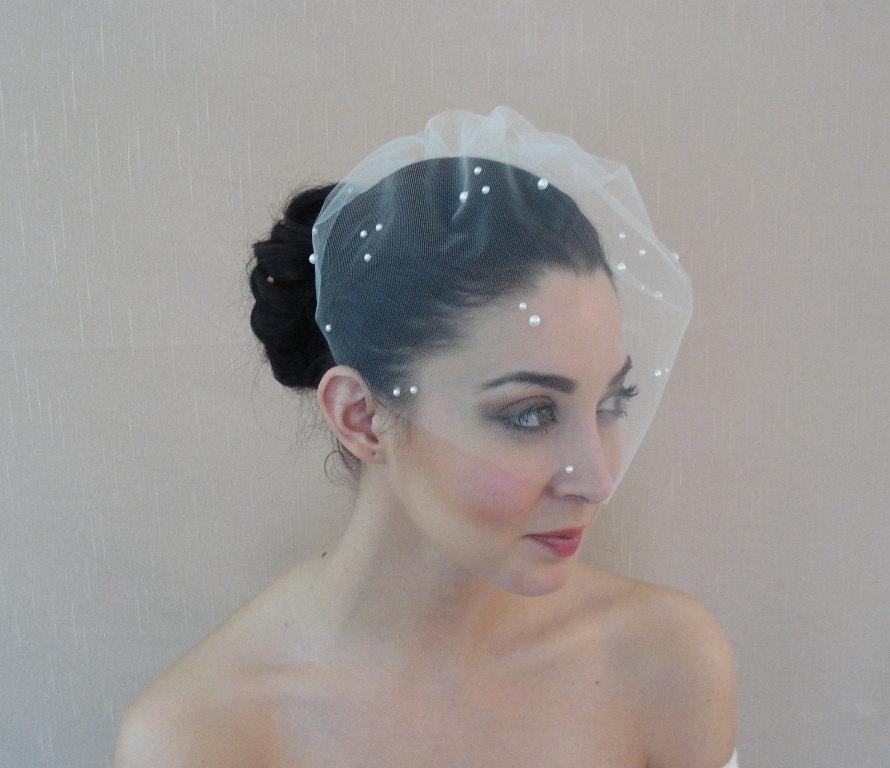 زفاف - Tulle Birdcage Veil Adorned with Flat Back Pearls in Ivory White Champagne Blush Black - Ready to ship in 3-5 days