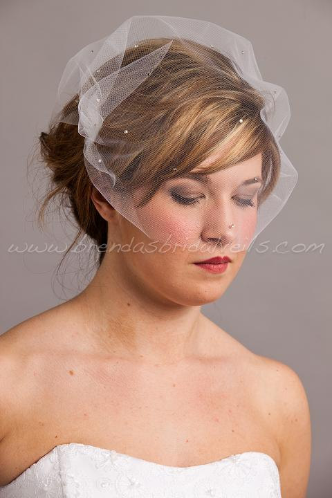 Свадьба - Tulle Bandeau Birdcage Veil with Swarovski Crystal Rhinestones, Ivory - White - Black - Champagne - Many Other Colors