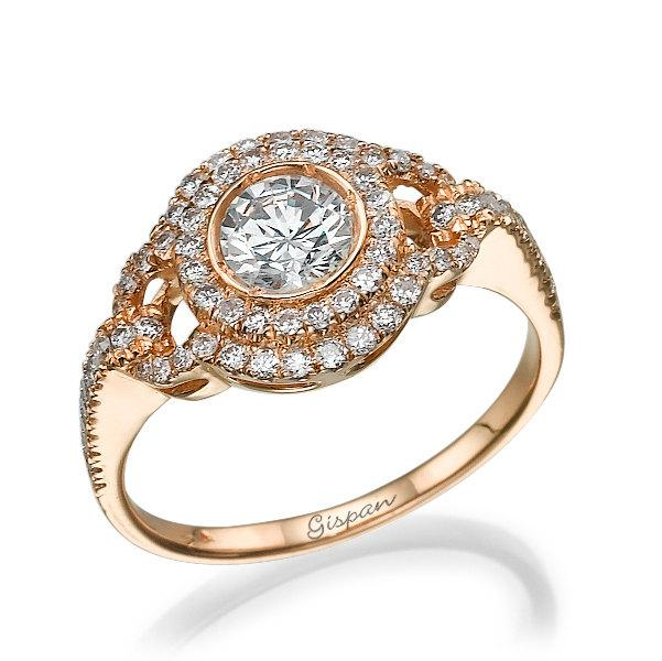 Engagement Ring Rose Gold Diamond Ring Vintage Ring Antique Ring