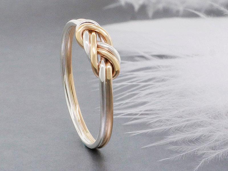 زفاف - 14k solid gold and sterling silver climbing knot ring, tied and dressed double figure 8 knot, alternative engagement ring
