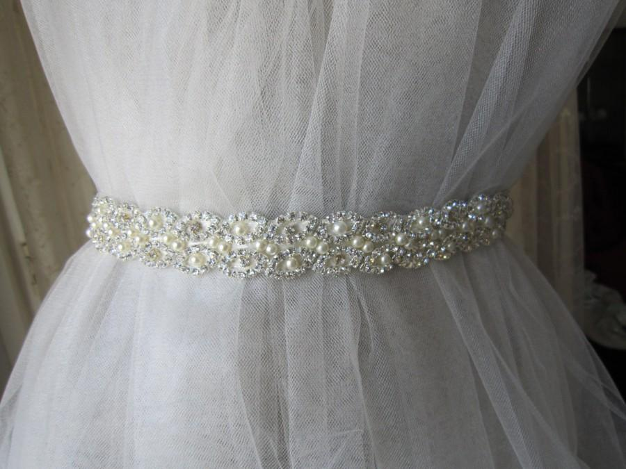 Mariage - Wedding belt Sash, Bridal Pearl and Rhinestones Sash, Bridal belt, wedding accessories