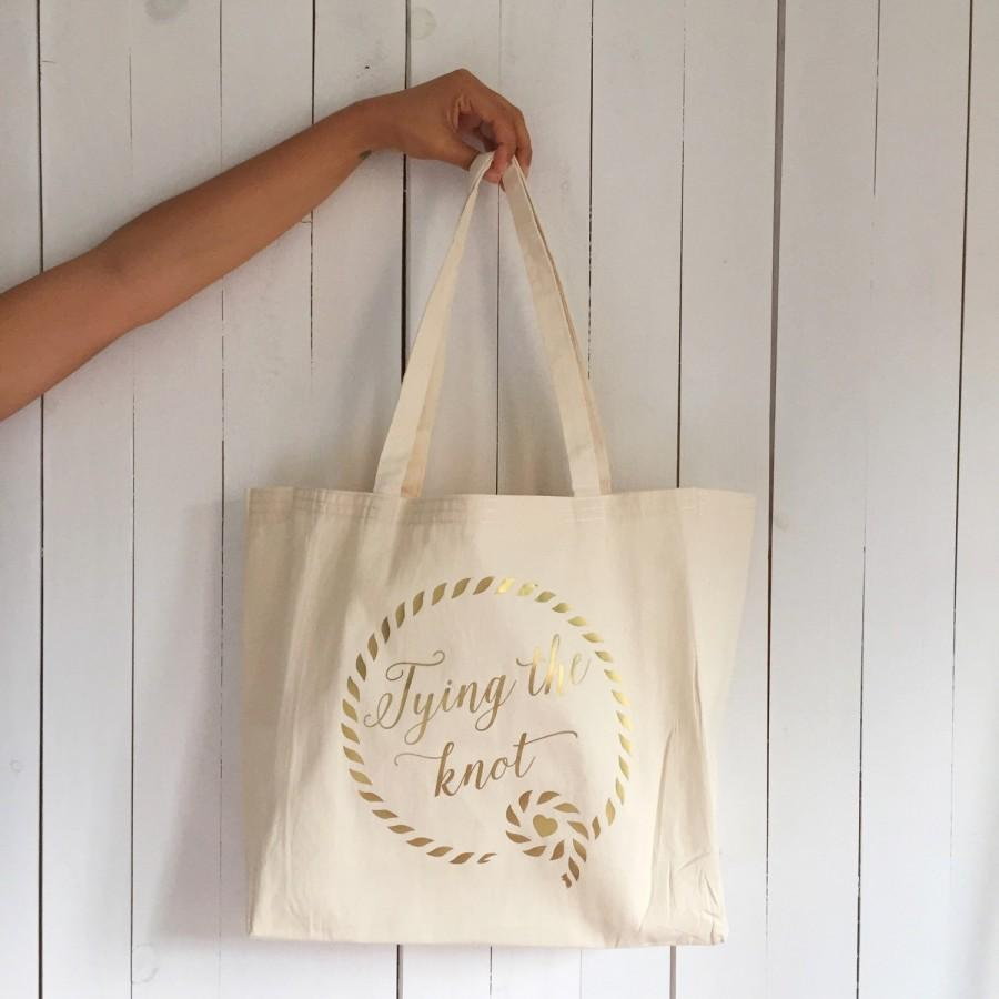 Wedding Tote Bag, Tying The Knot Tote Bag, Bachelorette Tote, Bridal ...