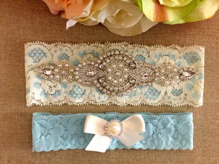 Свадьба - Wedding Garter Set- Blue Lace Bridal Garter - Crystal Rhinestone Garter and Toss Garter Set on Ivory and Blue Lace