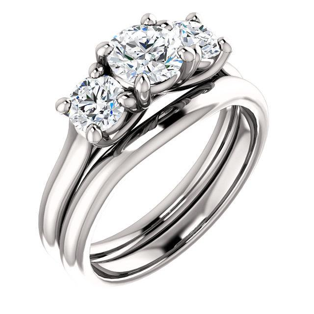Mariage - 1.35ct   3 stone  Moissanite Solid 14K White Gold  Halo  Engagement  Ring Set - ST233216