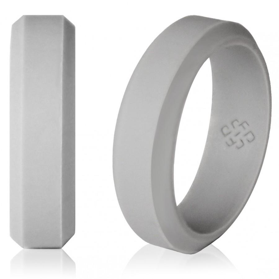Свадьба - Silicone Wedding Ring by Knot Theory - Safe & Lightweight Wedding Band (6mm, Light Grey)