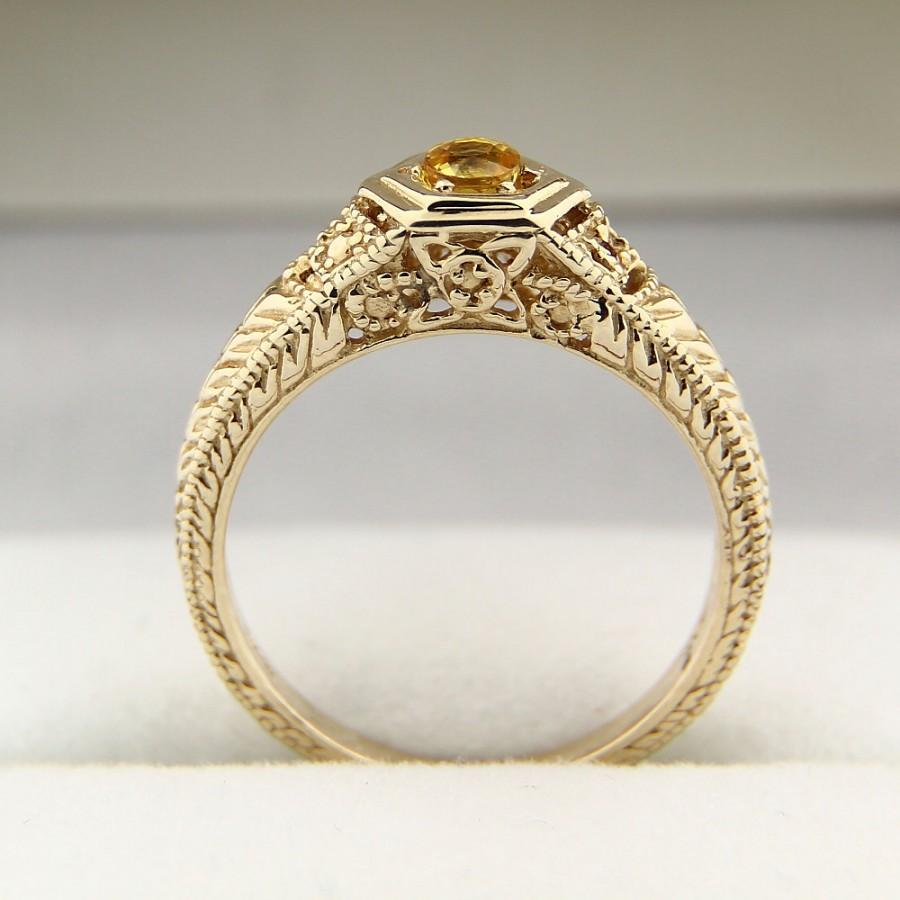زفاف - Natural Yellow Sapphire Solid 14K antique Yellow Gold Ring