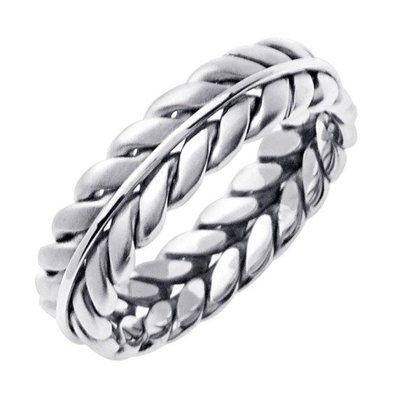 زفاف - 14K White Gold Hand Braided Wedding Ring Band for Men or Women (Sizes 3-14) 6mm