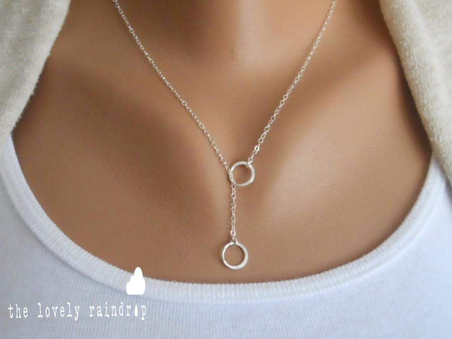 """Mariage - Sterling Silver Eternity/Circle Lariat Necklace - 1/4"""" in diameter - Sterling Silver Fine Chain - Perfect Gift - Modern Simple Everyday"""