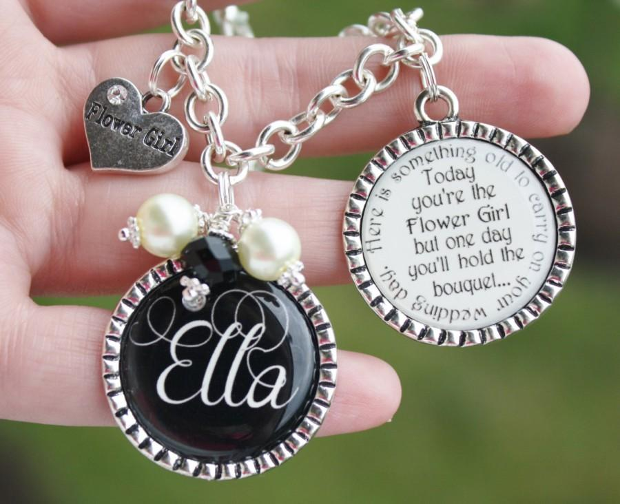 Personalized Flower Girl Gift Charm Bracelet Unique Keepsake ...