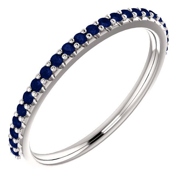 Wedding stackable half eternity blue sapphire wedding band ring in