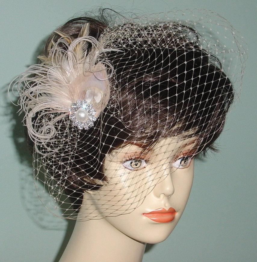 Свадьба - Champagne Birdcage Veil with  Feather Fascinator Clip Ready to Ship