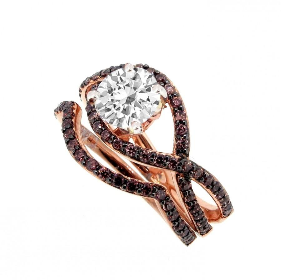 Unique Infinity Engagement And Wedding Ring Set Rose Gold White Chocolate Color Brown Diamonds 1 Carat Forever Brilliant Moissanite