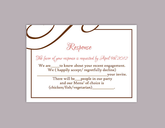 DIY Wedding RSVP Template Editable Text Word File Download Printable RSVP  Cards Brown Rsvp Card Template Pink Rsvp Card  Party Rsvp Template