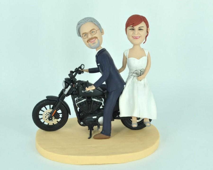 Свадьба - Unique wedding cake topper funny cartoon Harley - Davidson figure custom personalized cake topper