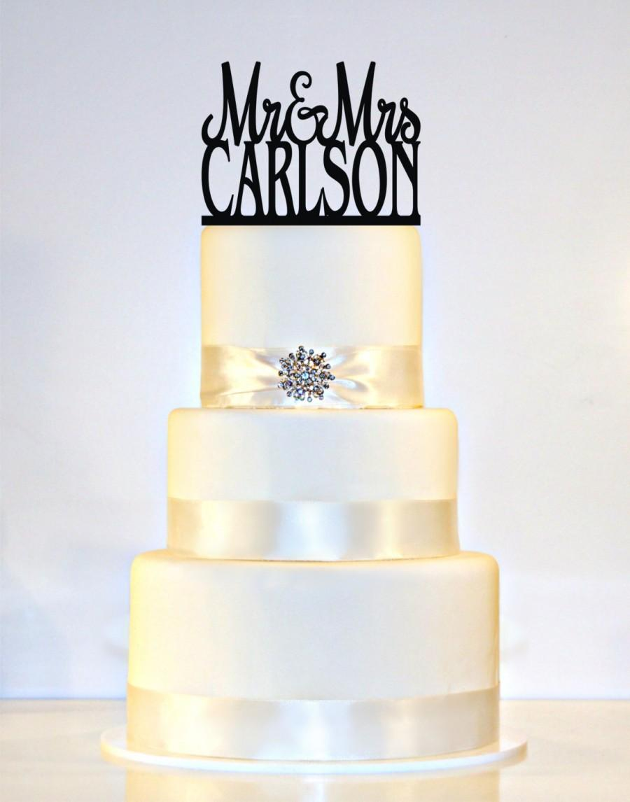"""Свадьба - Wedding Cake Topper Or Sign Monogram  personalized with """"Mr & Mrs"""" and YOUR Last Name"""