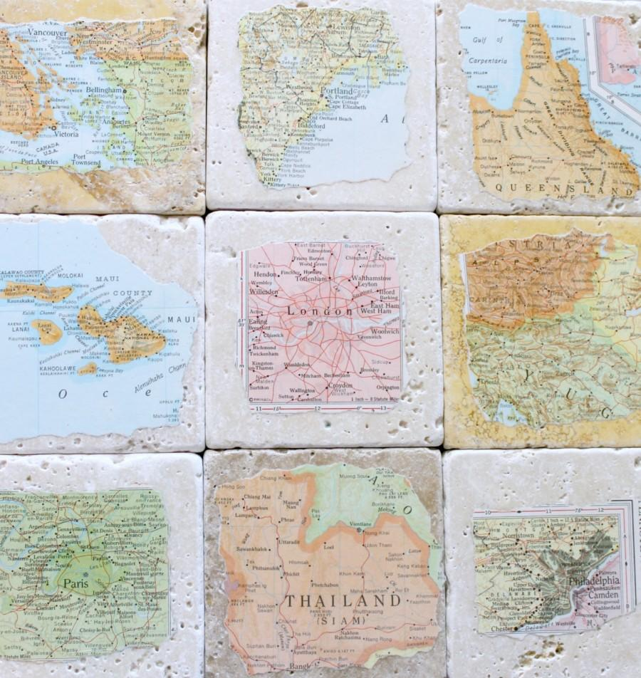 Свадьба - Anniversary Gifts for Men, Aunt Jewelry, Brother Gift Personalized Natural Stone Vintage Map Coasters. You Select Four Locations.