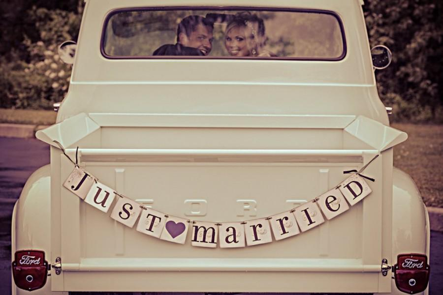 Mariage - JUST MARRIED banner sign / custom colors / car sign