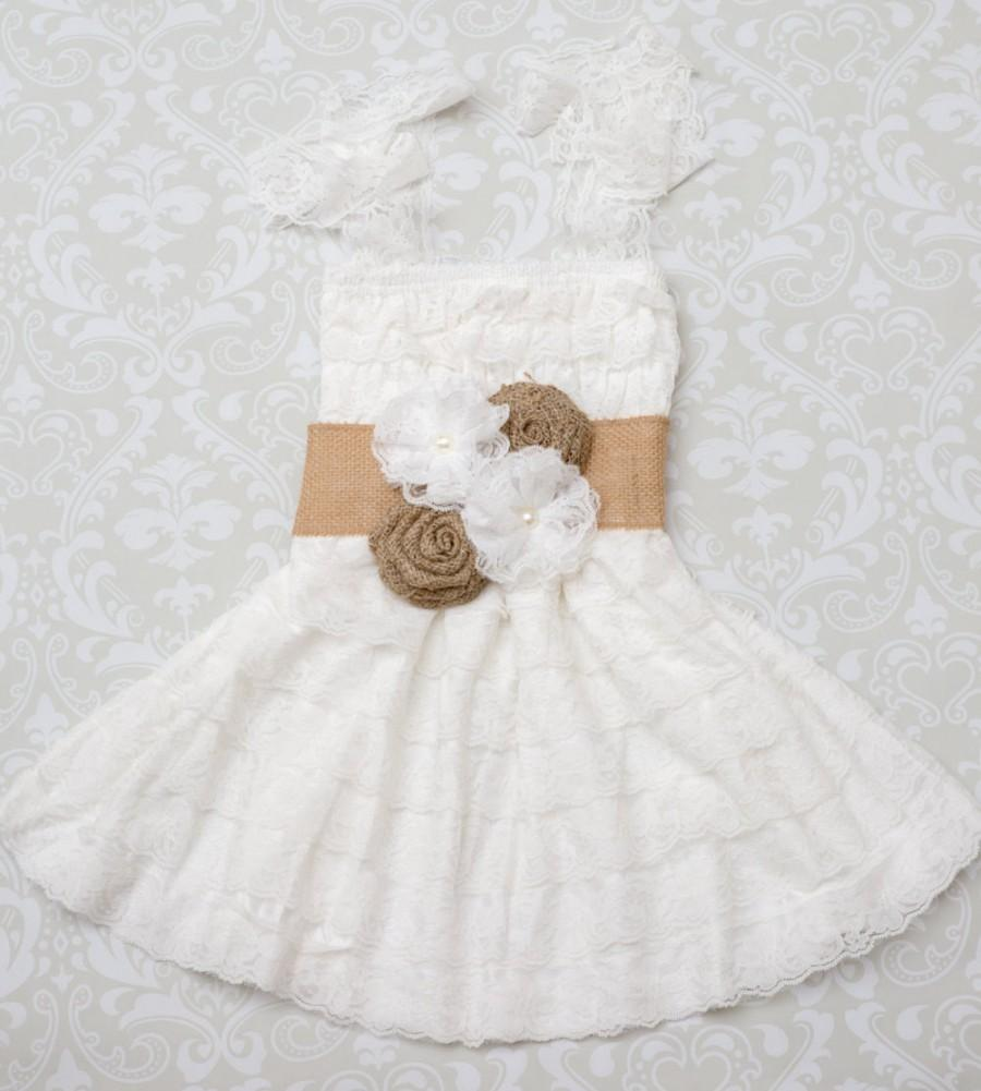 Rustic Flower Girl Dress -Flower Girl Dress- Burlap Flower Girl ...
