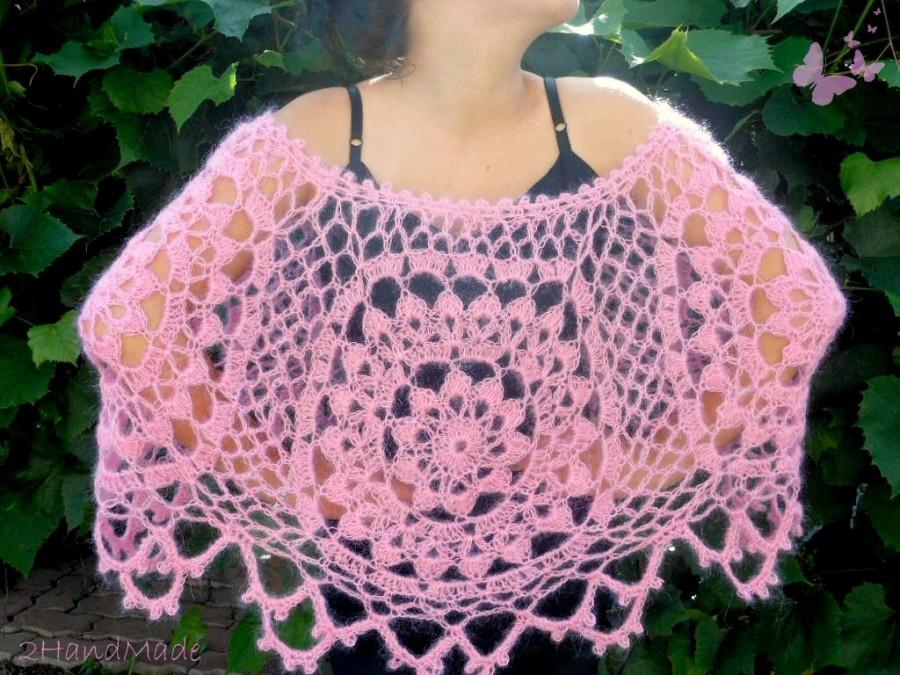 Mariage - Pink Mohair Lace Chunky Crochet  Motifs Capelet Shawl Wrap  Women Ladys Bridal Bridesmaid Weddings