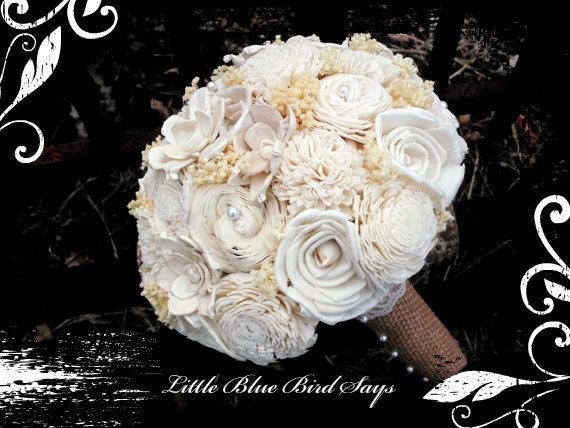 Свадьба - Rustic bridal bouquet Sola bouquet, wedding bouquet, bridal bouquet, sola flower bouquet, keepsake flowers, rustic wedding
