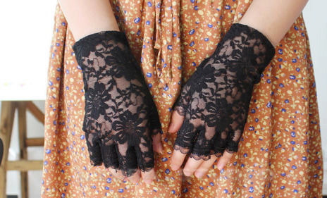 Mariage - Black Lace Wedding Gloves, Bridal gloves, fingerlass gloves, bridal lace, black lace gloves, gothic