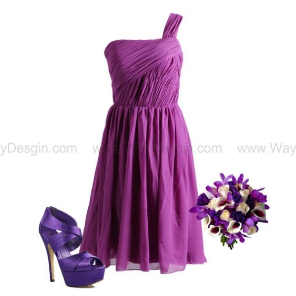 Mariage - Purple/Mint/Blue One Shoulder Chiffon Bridesmaid Dress/Prom Dress Knee Length Short Dress