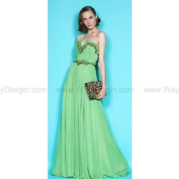 Marchesa Inspired Strapless Sweetheart Blue Chiffon Simple Wedding Dress Bridesmaid Prom With Beading