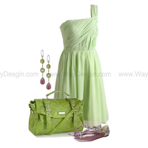 Wedding - Mint Light Blue One Shoulder Chiffon Bridesmaid Dress/Prom Dress Knee Length Short Dress
