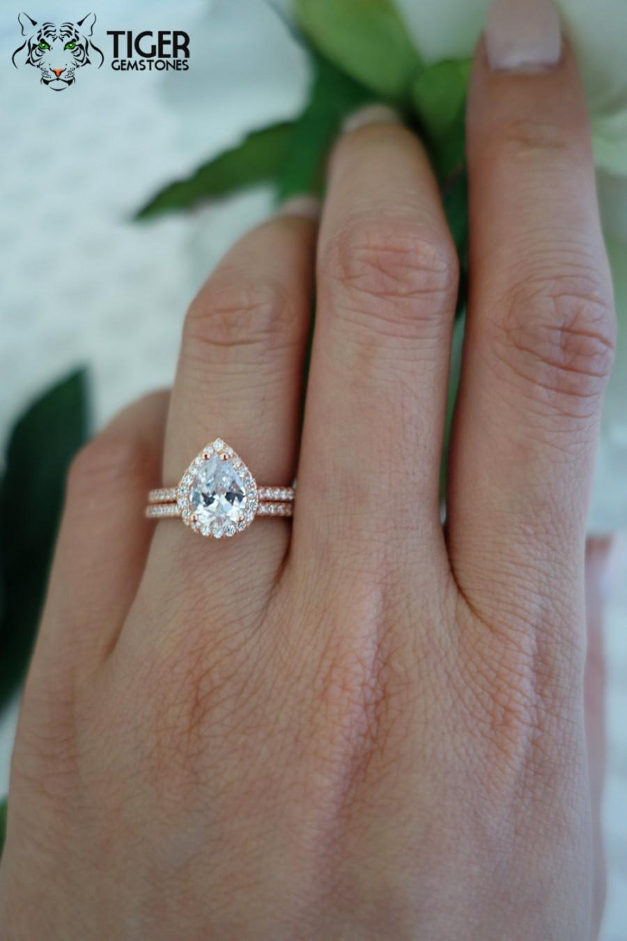 15 carat pear cut halo engagement ring wedding band flawless man made diamond simulants wedding ring sterling silver rose gold plated - Wedding Band For Halo Engagement Ring