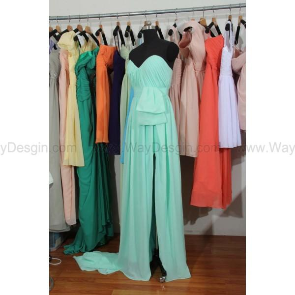 Wedding - Mint Bridesmaid Dress, Sweetheart Floor Length Chiffon Bridesmaid Dress With a Slit