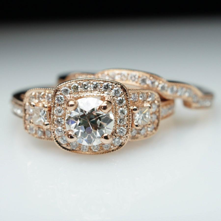 Wedding - Unique .97ct Old European Cut Diamond Halo 14k Rose Gold Engagement Ring & Wedding Band Set (Complete Bridal Wedding Set)t